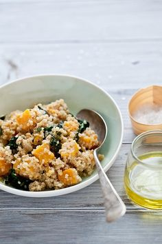 {Quinoa, kale and butternut squash salad.}