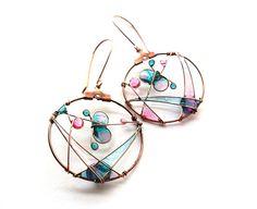 Mint Pink Butterfly Circle Copper Earrings  by ThePurpleBalloon, $35.00