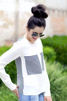 striped blouse & a messy top knot