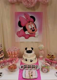 Minnie Mouse Birthday Party dessert table! See more party planning ideas at CatchMyParty.com!