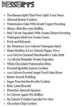 Low Calorie Dessert Menu