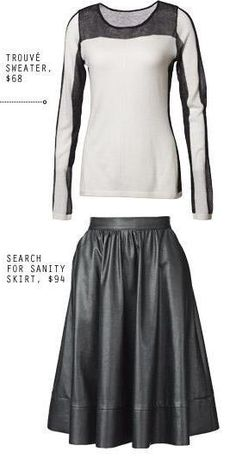 Style tip: Pair a black  white sweater with faux black leather skirt.