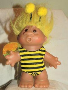 BUMBLE BEE Rare DAM 2005 Troll Doll Figure (Bright Yellow Hair) by DAM,