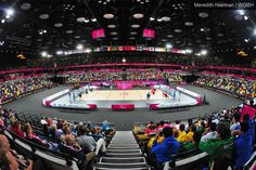 The inside of the Copper Box, where the goalball events are held at the 2012 Paralympic Games in London.
