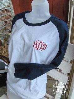 Monogram Baseball Tee TShirt Raglan Sleeve Shirt Team Colors Little League Mom. $19.50, via Etsy.