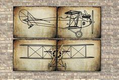 Airplane Prints set of 4 pieces, Nursery Art Decor, Wall Art Decor, Aviation Poster, Transportation print, Vintage Airplane print. #travel #nursery #boy