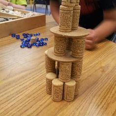 bouwhoek, construct idea, towers, constructi met, met kleuter, corks, hoeken