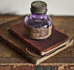 ink bottl, pen, journal, vintage books, letter, violet, bottles, old stuff, old books