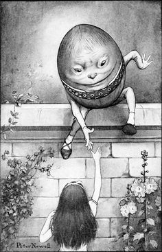 Humpty Dumpty from 'Alice Through the Looking Glass'.  Illustration by Peter Newell.