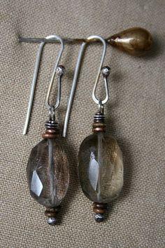 ❥ Smoke quartz and sterling earrings