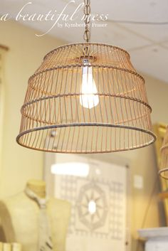 Antique mussel baskets repurposed and made into lighting