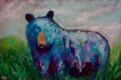 A Painting A Day 6  Whimsy Animal Bear Painting  by GrayArtus, $200.00
