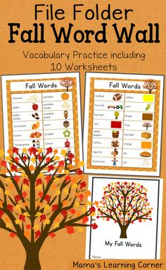 File Folder Fall Word Wall: Includes 10 worksheets for vocabulary practice!