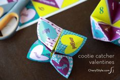 so you don't have to remember how to make them for the kids! #valentine printable cootie catcher