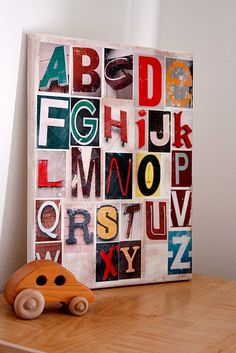"Go on a ""Treasure Hunt"" with the kiddos to find letters around our neighborhood. Make awesome alphabet art with the findings"