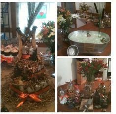 Camo-themed baby shower...little hunter's diaper cake, swamp water punch with Mallard rubber ducks and a trail mix bar.
