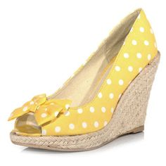 Yellow polka dot wedge