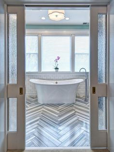 Eclectic Master Bathroom With Mixed Patterns : note pocket doors (alternate idea for cabinets & shelving units); windows, color