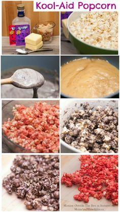 Kool-Aid Popcorn #Recipe & Tutorial #Recipes #Sweets http://www.momsandmunchkins.ca/2014/06/01/kool-aid-popcorn/