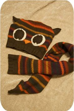 upcycle a sweater into a cute owl hat & matching scarf