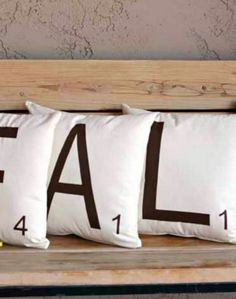I can't wait to make this for my own home -- DIY scrabble letter pillows. How fun!