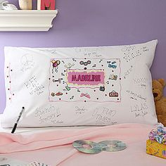 Slumber Party Favor...get plain pillow cases and have the girls decorate them and sign each other's names on them!