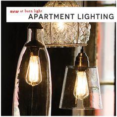 Apartment Lighting - beautiful pendants that can be plugged in or hardwired.