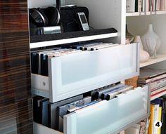 living room storage, media storage, storage ideas, drawer, cd storage