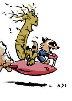 OMG Calvin and Hobbes as Rocket and Groot!