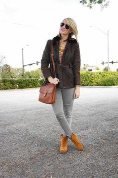 Jennifer Rand; vintage jacket; vintage necklace; vintage Coach bag; vintage Dior scarf; Lucky brand boots; RayBan sunnies; Hudson denim