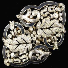 Trifari 'Alfred Philippe' Empress Eugenie Pave and Enamel Leaf Swirls Clipmate Pin or Pair of Dress Clip, 1938-42