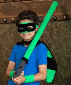 This Glowing Green Galaxy Hero homemade Halloween costume would make your boys the coolest kids on the block. It comes in sizes 2-8!   AllFreeCrochet.com