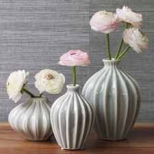 Amelie Set of 3 Deco Vases decor, artificial flowers, 1920s style, home accessories, amelie, ameli set, ceramics, homes, deco vase
