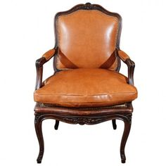 1930s French Arm. Upholstered in fine leather and silk velvet with nail heads.