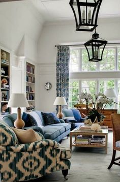 Via New England Home lantern, interior, living rooms, chair fabric, color, light fixtures, hous, live room, blues