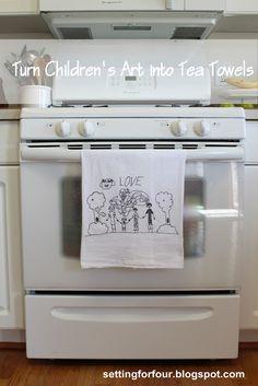 create a tea towel using kid's art