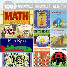 100 Books About Math for Kids - Great list! Fiction and Non-Fiction - Covers counting, shapes, money, time, addition, multiplication, division, geometry, logic, and more!
