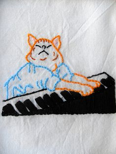 Keyboard Cat embroidery