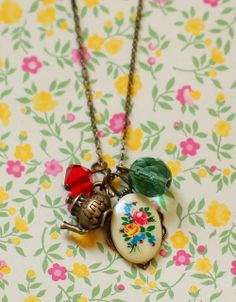 Flower Cameo   Handcrafted Necklace  Teapot
