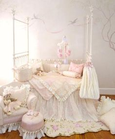 Ava Crib Bedding - Luxurious pale pinks and ivory baby girl bedding