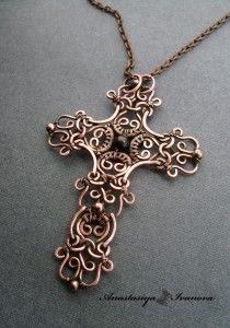 Anastasiya Ivanova крест ( медь, гранат, патина) р-р 6,5*9см