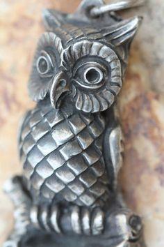 Rare vintage owl pendant by designer HENRYK WINOGRAD . .999 pure fine silver.