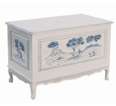 Blue toile toy chest - gorgeous.