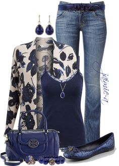 """""""Floral Cardigan & Tory Burch"""" by jaimie-a on Polyvore"""