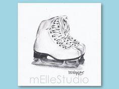 Ice skates Art Print Girls Bedroom Art Ice Skating by mElleStudio, $25.00
