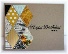 handmade card ... kraft ... graphic design with diamond punched printed papers ... great card!!