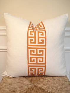 Orange greek key on white cotton pillow cover - 18 x 18