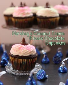 Hershey's Coconut Creme Kisses Chocolate Cupcakes | cupcakesandkalechips.com | #hersheyskisses #dessert #easter