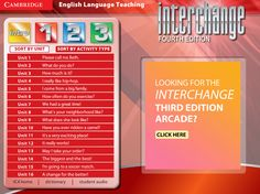 Interchange 4th Edition Arcade: Cambridge University Press -  Level 1 Menu