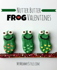 frog valentin, frog cooki, idea, butter cooki, nutter butter, food, butter frog, fun, frogs